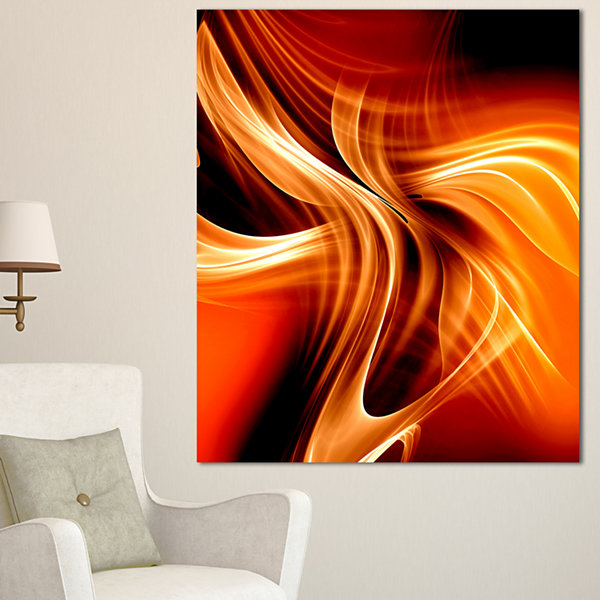 Designart Orange Abstract Warm Fractal Design Abstract Wall Art Canvas - 3 Panels