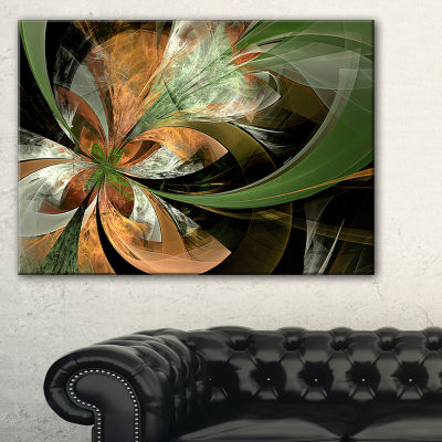 Designart Orange And Green Large Fractal Flower Floral Canvas Art Print