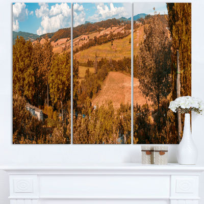 Designart Orange Autumn Mountains Tuscany Landscape Print Wall Artwork