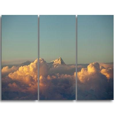 Designart Orange Clouds Colorful Sunset In Sky Extra Large Wall Art Landscape