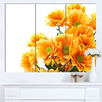 Designart Orange Flowers Chrysanthemum Floral Canvas Art Print - 3 Panels
