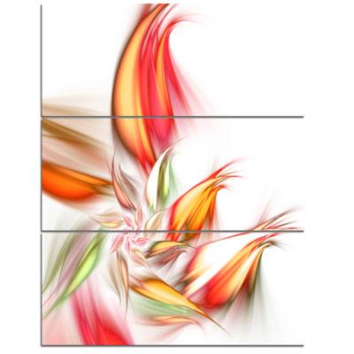 Designart Orange Pink Fractal Floral Shapes LargeFloral Wall Art Triptych Canvas