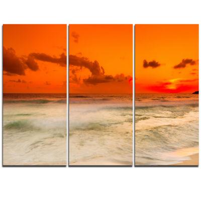 Designart Orange Sky And Wide Sandy Beach Extra Large Seashore Triptych Canvas Art
