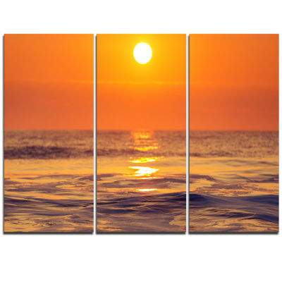 Designart Orange Sunrise And Glittering Waters Seascape Triptych Canvas Art Print