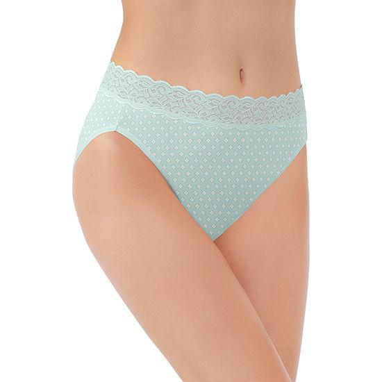 Vanity Fair Flattering Lace Cotton Knit High Cut Panty 13395