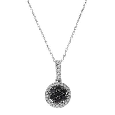 Womens 3/8 CT. T.W. White & Color Enhanced Black Diamond 10K White Gold Pendant Necklace