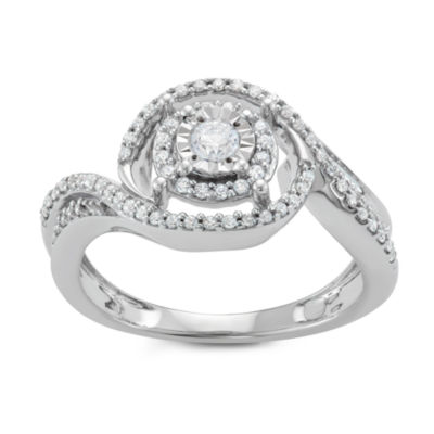 Womens 3/8 CT. T.W. Genuine White Diamond Sterling Silver Engagement Ring