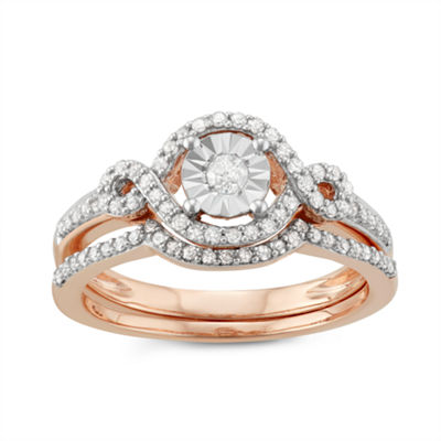 Womens 3/8 CT. T.W. Genuine White Diamond 10K Rose Gold Bridal Set