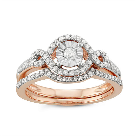 Womens 3/8 CT. T.W. Genuine White Diamond 10K Rose Gold Bridal Set