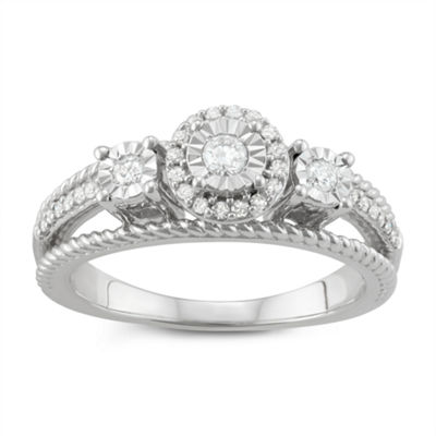 Womens 1/4 CT. T.W. Genuine White Diamond Sterling Silver 3-Stone Ring