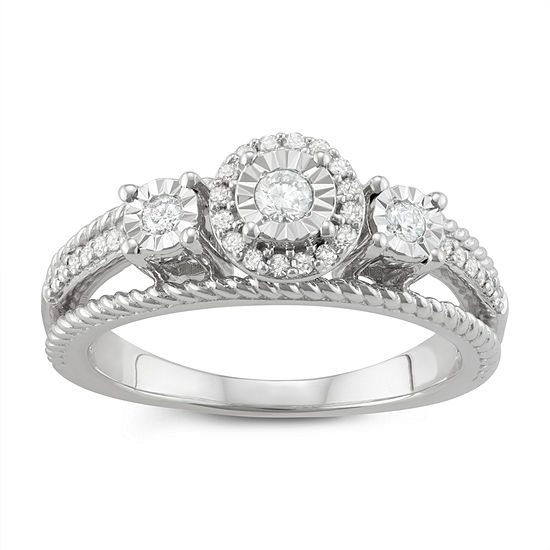 Womens 1/4 CT. T.W. Genuine White Diamond Sterling Silver 3-Stone Engagement Ring