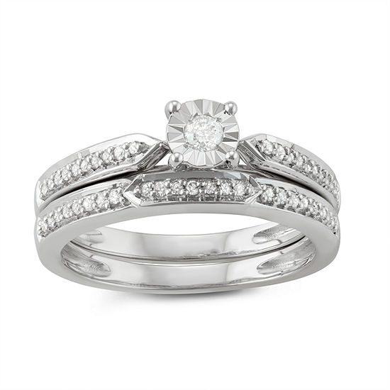 Womens 1/4 CT. T.W. Genuine White Diamond Sterling Silver Promise Ring