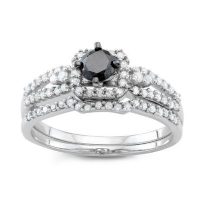 Womens 1 CT. T.W. Black Diamond 10K White Gold Bridal Set