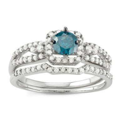 Womens 1 CT. T.W. Blue Diamond 10K White Gold Bridal Set