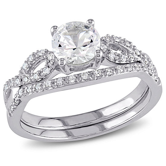 Lab Created White Sapphire & 1/6 CT. T.W Diamond 10K White Gold Bridal Set