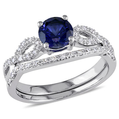 Lab Created Blue Sapphire & 1/6 CT. T.W. Diamond 10K White Gold Bridal Set