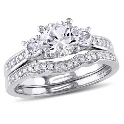 Lab Created White Sapphire & 1/7 CT. T.W. Diamond 10K White Gold Bridal Set