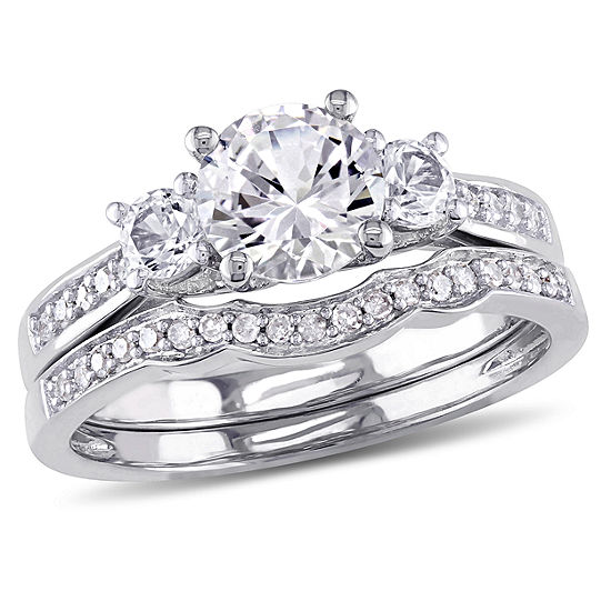 Lab Created White Sapphire & 1/7 CT. T.W. Diamond 10K White Gold Bridal Set