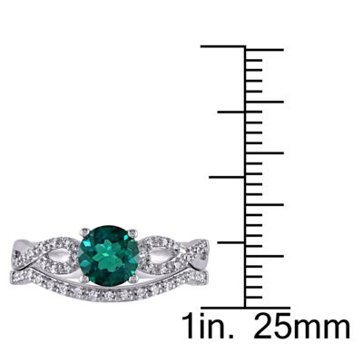 Lab Created Green Emerald & 1/6 CT. T.W. Diamond 10K Gold White Bridal Set