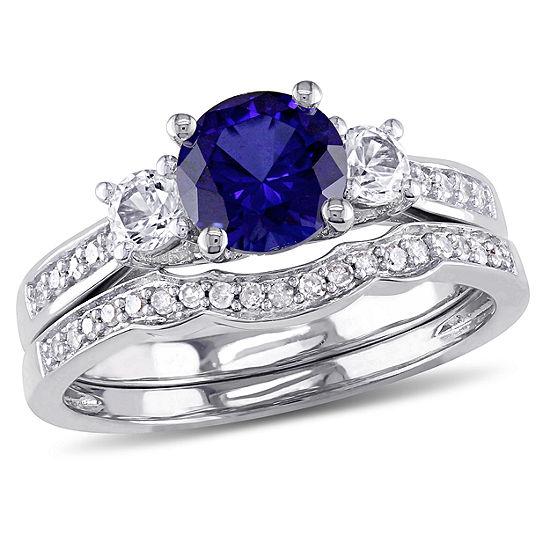 Lab Created Blue Sapphire & 1/7 CT. T.W. Diamond 10K White Gold Bridal Set