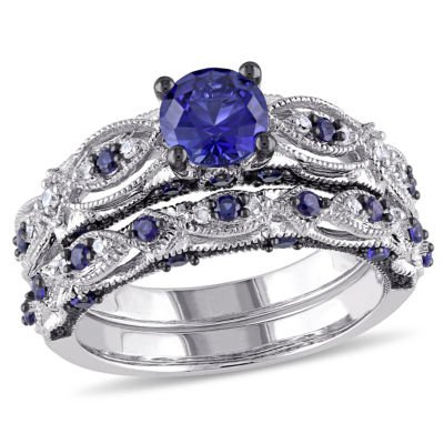 Lab Created Blue Sapphire & 1/10 CT. T.W. Diamond 10K White Gold Bridal Set