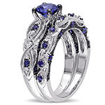 Lab Created Blue Sapphire & 1/10 CT. T.W. Diamond 10K White Gold Bridal Set