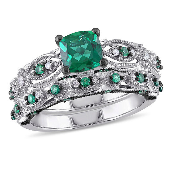 Lab Created Emerald 1 10 Ct Tw Diamond 10k White Gold Bridal Set