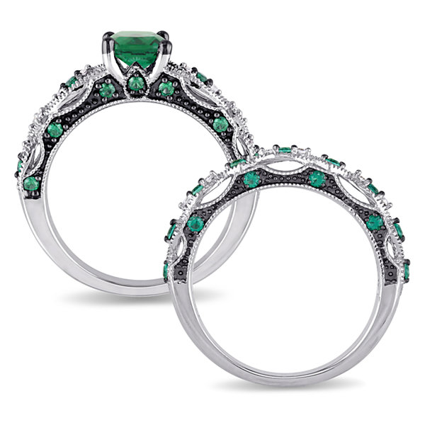 Lab Created Emerald & 1/10 CT. T.W. Diamond 10K White Gold Bridal Set