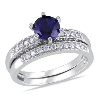 Lab Created Blue Sapphire & 1/3 CT. T.W. Diamond 10K White Gold Bridal Set