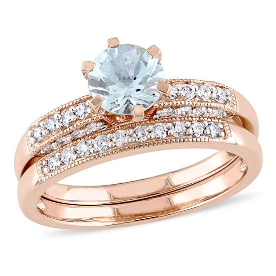 Genuine Aquamarine & 1/3 CT. T.W. Diamond 10K White Gold Bridal Set