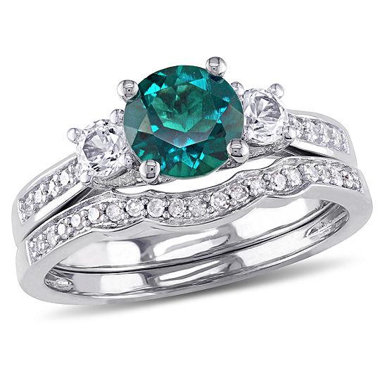 Lab Created Emerald & 1/7 CT. T.W. Diamond 10K White Gold Bridal Set