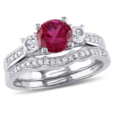 Lab Created Ruby & 1/7 CT. T.W. Diamond 10K White Gold Bridal Set