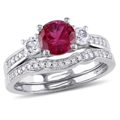 Lab Created Ruby & 1/7 CT. T.W. Diamond 10K White Gold Bridal Set