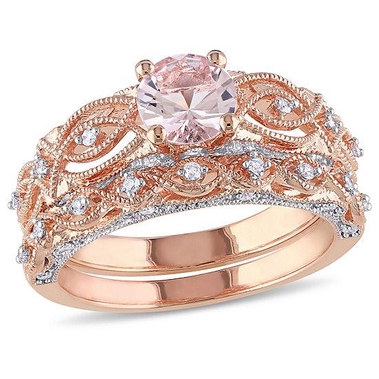Genuine Morganite & 1/4 CT. T.W. Diamond 10K Rose Gold Bridal Set