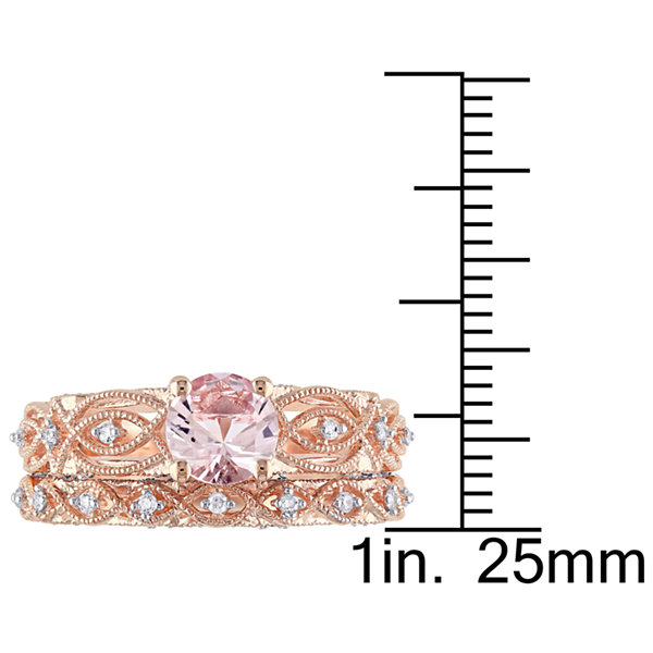 Genuine Morganite & 1/4 CT. T.W. Diamond 10K Rose Gold Bridal Set