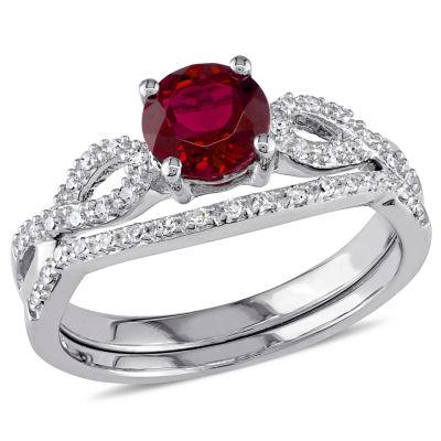 Lab Created Ruby & 1/6 CT. T.W. Diamond 10K White Gold Bridal Set