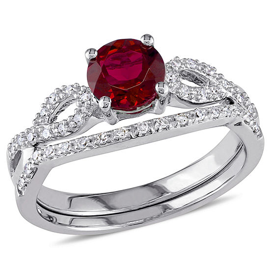 Lab Created Ruby & 1/6 CT. T.W. Diamond 10K White Gold Bridal Set