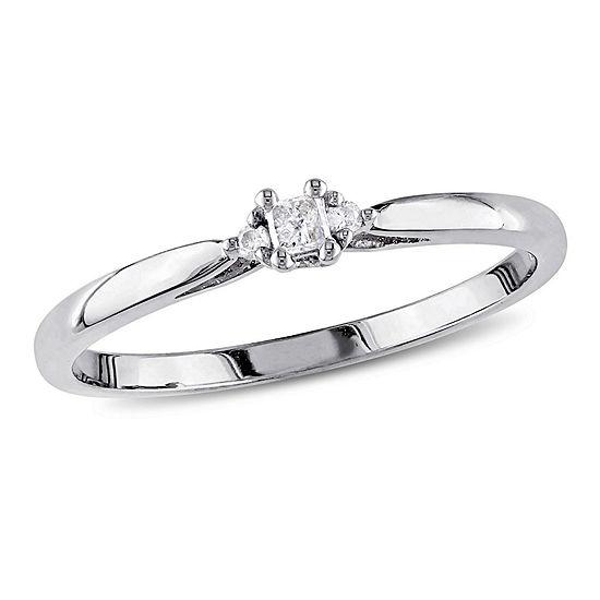 Womens Diamond Accent Genuine White Diamond 10K Gold Solitaire Engagement Ring
