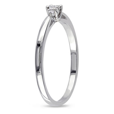 Womens Diamond Accent Round White Diamond 10K Gold Solitaire Ring