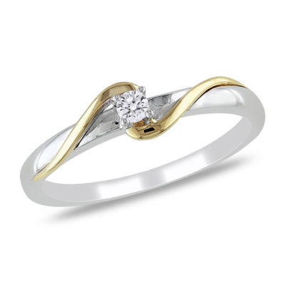 Womens Diamond Accent Genuine White Diamond 10K Gold Solitaire Engagement Ring
