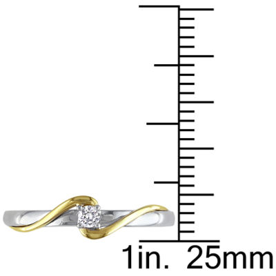 Womens Diamond Accent Genuine White Diamond 10K Gold Solitaire Ring