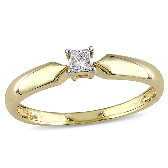 Womens 1/10 CT. T.W. Genuine White Diamond 10K Gold Solitaire Engagement Ring