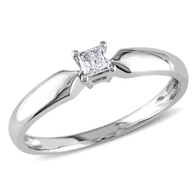 Womens 1/10 CT. T.W. Genuine White Diamond 10K Gold Solitaire Ring