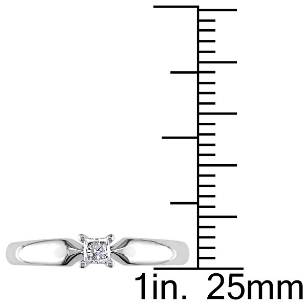 Womens 1/10 CT. T.W. Genuine Princess White Diamond 10K Gold Solitaire Ring