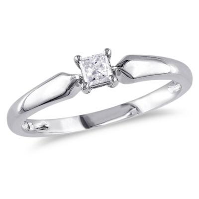 Womens 1/5 CT. T.W. Genuine White Diamond 10K Gold Solitaire Ring