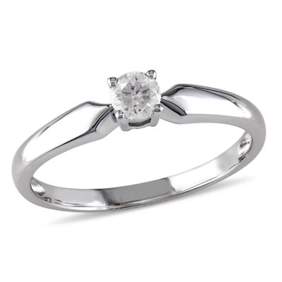 Womens 1/5 CT. T.W. Genuine White Diamond 10K Gold Solitaire Ring