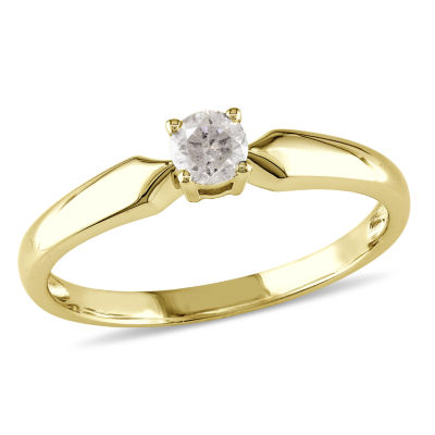 Womens 1/5 CT. T.W. Round White Diamond 10K Gold Solitaire Ring