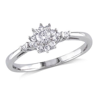 Womens 1/4 CT. T.W. Genuine White Diamond 10K Gold Solitaire Engagement Ring