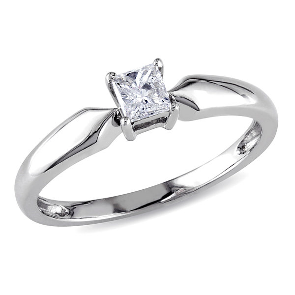 Womens 1/4 CT. T.W. Princess White Diamond 10K Gold Solitaire Ring