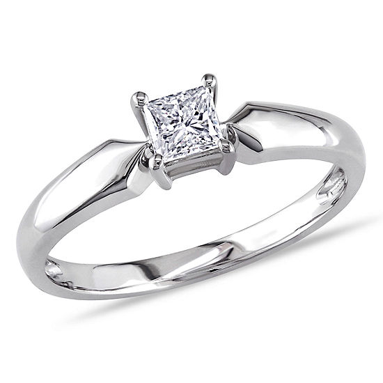 Womens 1 3 Ct Tw Genuine White Diamond 10k Gold Solitaire Engagement Ring